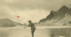 A photograph of Grace Hebard fishing at Snowy Range mountains, University of Wyoming American Heritage Center, Grace Raymond Hebard Photo File. Neg. No. 18168.