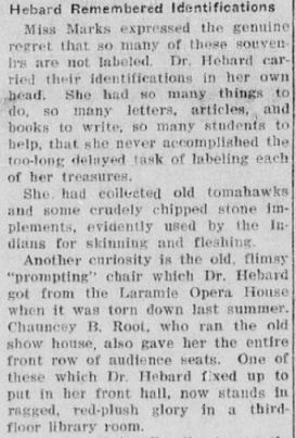Section of the article talking about the difficultly Mary E. Marks had in labeling all of the artifacts donated by Dr. Hebard