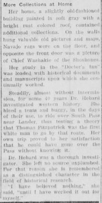 Section of the article about Dr. Hebard's collections in her home.