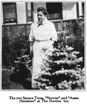 Dr. Hebard standing beside her two spruce trees, Norway and Aasta Hansteen, Glimpses From Agnes Mathilde Wergeland's Life pg 148