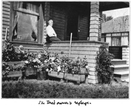 Dr. Wergeland sitting on her front porch with her flower boxes, Glimpses From Agnes Mathilde Wergeland's Life pg 154