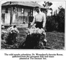 Dr. Hebard stands with Dr. Wergeland's favorite flower, the wild purple columbine. Glimpses From Agnes Mathilde Wergeland's Life pg 166