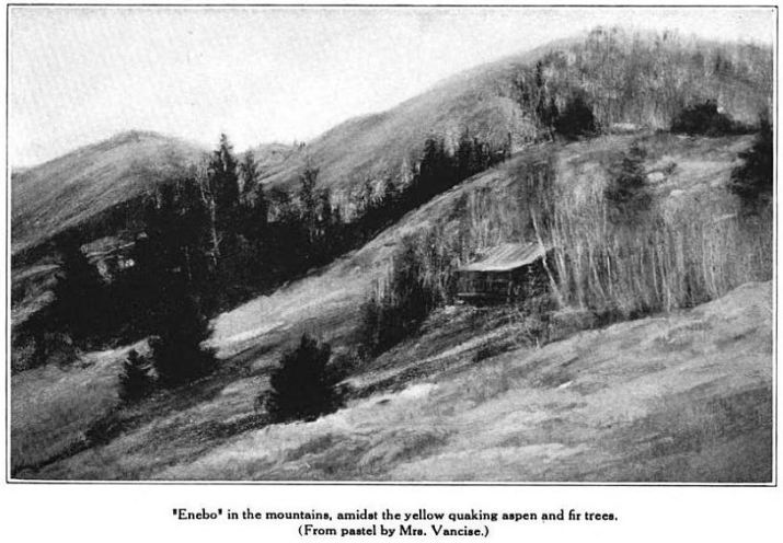 A painting of Enebo, nestled in the aspen trees on the Snowy Range. Glimpses From Agnes Mathilde Wergeland's Life page 178
