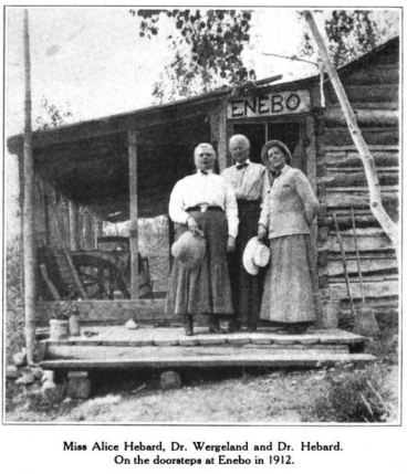 Dr. Wergeland poses with Dr. Grace Raymond Hebard and her sister, Alice Hebard on the porch of Enebo under her hand-carved sign. Glimpses From Agnes Mathilde Wergeland's Life page 180