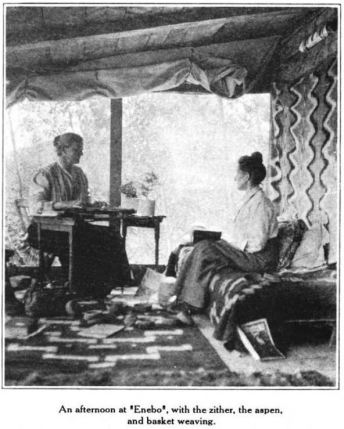 Dr. Wergeland plays the zither with Dr. Hebard on the porch of Enebo, Glimpses From Agnes Mathilde Wergeland's Life pg 182