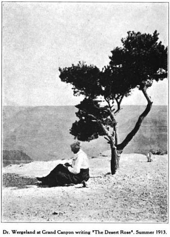 Dr. Wergeland writing a poem at the Grand Canyon, 1913, Glimpses From Agnes Mathilde Wergeland's Life pg 202