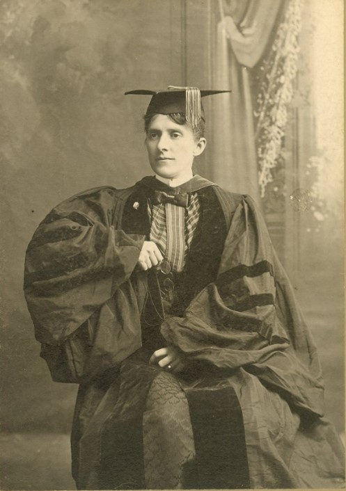 Portrait of Grace Hebard in cap and gown, AHC GRH Photofile