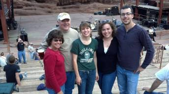 2014 Red Rocks! If you can see it on my face and in my shoulders, I flew in that day after partying for two days at my college reunion in Virginia.