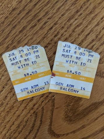 My Parents' ticket stubs to John Prine, 1980