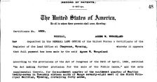 Excerpt for her land patent, original survey, and detail of Dr. Wergeland's property, Bureau of Land Management, General Land Office Records
